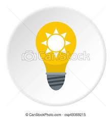 yellow light bulb with sun inside icon circle yellow light