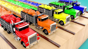100 Balls On Trucks Learning Colors For Children With A Lot Of Dump Truck