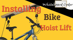 Racor Ceiling Mount Bike Lift by Installing Garage Bike Lift Hoist Rad Youtube