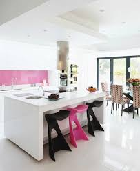 White Gloss Kitchen With Pops Of Pink