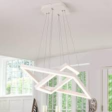 Royal Pearl Modern LED Foyer Pendant Lighting 2 Rings Contemporary Chandelier Square Shape Acrylic 84W 6720lm White For Bedroom Living Dining Room
