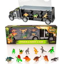 100 Dinosaur Truck Carry Case Transporter 12 Toy Dino Figures Jurassic