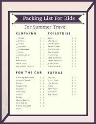 Packing List For Kids Summer Travel