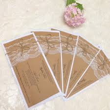 Rustic Wedding Invitation Set Country Kraft Paper Cards Printable Burlap And Lace Custom Made