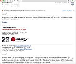 Energy Fitness Club Rechazo De Solicitud De Renuncia La Empresa