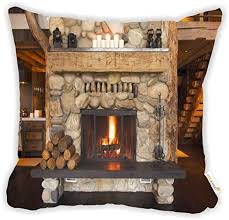 Rikki Knight Rustic Fireplace Microfiber Throw Decor Pillow