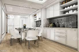 3d rendering schöne moderne weißen küche und esszimmer stockfoto und mehr bilder accessoires