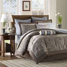 Adorable Brown Paisley Print Motif Reversible Bedroom Quilt Comforter Sets With Double Grey Strips Pattern Euro