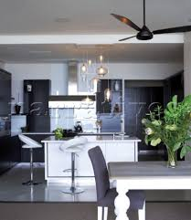 Ceiling Fan Above Dining Table In Open Plan Kitchen With Glass Pendant Lights Camps Bay