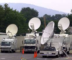 Television Satellite Trucks Park Below The The Catoctin Mountains On ... Pmtv Sallite Uplink Trucks For Broadcast Live Streaming Trucks At The Coverage Of Timothy Mcveighs Exec Flickr Side Loader New Way The Best To Transmit Data In Really Wired 3d Rendering On Road With Path Traced By Stock Espn Gameday Truck Was Parked Nearby 2012 Us Presidential Primary Covering Coverage Tv News Broadcast Live With Antenna And Sallite Tv Truck Parabolic Frm N24 Channel Media Descend On Jpl Nasas Mars Exploration Program Rear View Of White Television Multiple