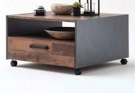 details zu wohnzimmer tisch couchtisch used wood grau design schubkasten ablage rollen