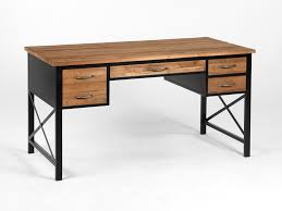 bureau metal et bois bureau bois metal bureau industriel bois et m tal 2 tiroirs made