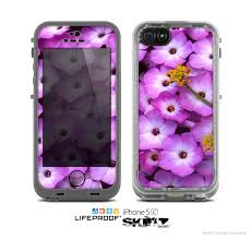 The Purple Flowers Skin for the Apple iPhone 5c LifeProof Case