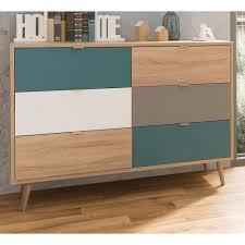 sideboard kommode cuba in sonoma eiche hell mit petrol weiß und grau tricolor skandinavische schubladenkommode 120 x 87 cm