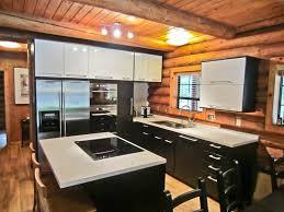 Log Cabin Kitchen Backsplash Ideas by Attractive Kitchen Design Showcasing U Shaped White Finish