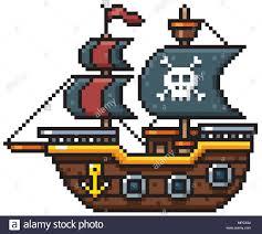 100 Design A Pirate Ship Vector Illustration Of Cartoon Ship Pixel Design Stock