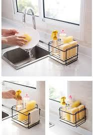 schwarz spülbecken organizer für küche schwammhalter schwammhalter waschbecken perfekt zur aufbewahrung lappen spülmittel spülbürste und