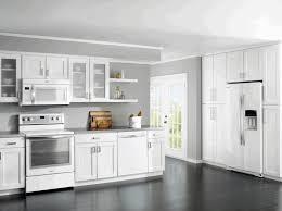 Modern White Kitchen Cabinet Grey Wall Painting Dark Wood Parquete Flooring Plain Ceiling