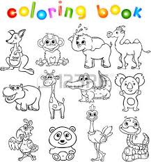 Set Of Wild Animals Third For Children Coloring Book Stock Vector