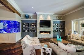 aquarium ideen wohnzimmer design kamin wohnwand sessel