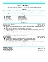 Best Behavior Specialist Resume Example