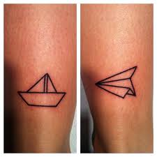 Paper Boat With Plane Tattoo