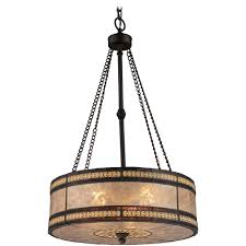 Mica Lamp Shade Company by Drum Pendant Light With Beige Mica Shade In Tiffany Bronze Finish