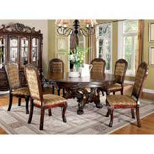 Furniture Of America Evangeline Elegant 7-Piece Round Dining Table Set Cm3556 Round Top Solid Wood With Mirror Ding Table Set Espresso Homy Living Merced Natural Wood Finish 5 Piece East West Fniture Antique Pedestal Plainville Microfiber Seat Chairs Charrell Homey Design Hd8089 5pc Brnan Single Barzini And Black Leatherette Chair Coaster 105061 Circular Room At Hotel Hershey Herbaugesacorg Brera Round Ding Table Nottingham Rustic Solid Paula Deen Home W 4 Splat Back Modern And Cozy Elegant Sets