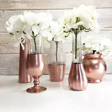 5 Metallic Painted Flower Vases Country Decor Cottage Chic Shabby