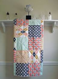 Coral And Navy Baby Bedding by Baby Quilt Nicey Jane Crib Quilt In Pink Aqua Mint And