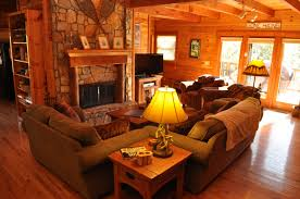 Living Room Rustic Ideas That Use Stone Look Fireplace Surround Brown
