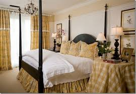 Yellow Gingham Bed Skirt For Vintage French Country Bedroom Using