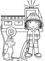 Preschool Coloring Pages Fire Woman Truck And Dog