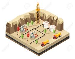 Isometric Oil Industry Template With Drilling Rigs Resource Storage ...