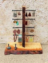 Ash Wood Jewelry Organizer Earring Display Bracelet Stand Holder Rustic