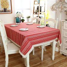 Home Decor Red Christmas Tablecloth Xmas Tree Deer Printed Cottonpolyester Table Cloth Dust Cover With Lace
