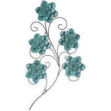 Turquoise Metal Flower Swirl Wall Decor