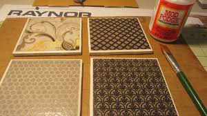 how to make coasters with tiles scrapbook paper mod podge