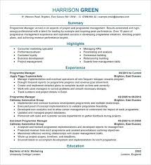 Hotel Manager Resume Template Green Duty Cv
