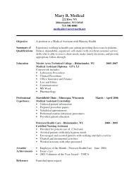 Examples Of Resumes For Medical Assistants Resume Sample Assistant No Experience