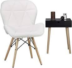 relaxdays polsterstuhl esszimmer ruby weiß retro design kunstleder holzgestell hxbxt 83 x 55 x 50 cm lounge white