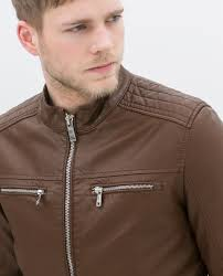 brown faux leather jacket mens