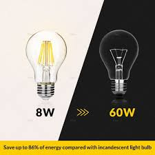 dimmable a19 led filament light bulb 8 watt 800 lumen 2700k