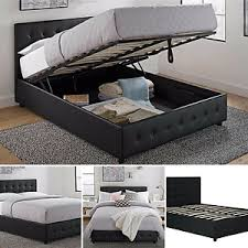 Queen Size Bed Frame With Shoe Storage Tufted Headboard Leather