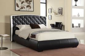 Black & White Faux Leather Eastern King Size Platform Bed Frame w