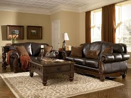 Rustic Living Room Furniture Of Trend Grandly With Dark Leather Upholstered Couch Unify Wooden Carving Frames
