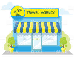Facade Travel Agency Signboard With Emblem Awning Symbol In Windows Royalty