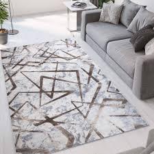 wohnzimmerteppich modernes geometrisches design braun kurzfloorig mar001