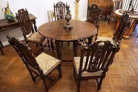 antik alt esszimmer tisch tafel gruppe 6 stühle ausziehbar biedermeier