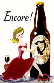 Encore Guinness Beer Poster Vintage Posters Reproductions This Vertical English Wine And Spirits Features A Woman In Red Dress Playing Harp On